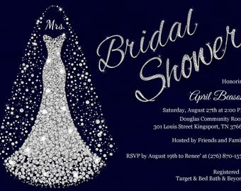 Navy & Silver Bridal Shower Invitation,  Diamond wedding dress invitation, Diamond Wedding gown Bridal Shower invitations, Printable invite