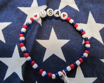 USA Beaded Bracelet-Patriotic Bracelet-Girls Bracelets-Kids Bracelets-Gifts for Her-Gifts for Girls-4th of July Bracelet