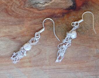 Pearl beaded earrings, knitted wire earrings, bridal earrings, white pearl, silver earrings, wire wrapped earrings, knitted jewellery