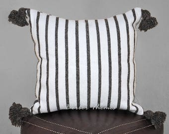 Moroccan Pom Pom Decorative Throw Pillow Cover Cotton, Accent Pillow Couch Sofa, Handwoven on Traditional Looms. #PC008