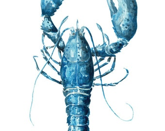 Blue Lobster - 8 x 10 Watercolor Print - Coastal Artwork