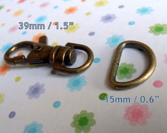 5 Sets 1.5 Inch Swivel Clips with Matching D Ring (available in Antique Brass, Nickel, Gun Metal Finish)