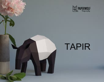 Malayan Tapir, Asian Tapir Paperwolf paper animals, DIY paper sculpture, Tapir papercraft kit in black and white, geometric decoration