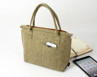 Special Gift Camel Felt Purse Women's Handbag Lady's Shoulder Bag Message Bag Everyday Bag school bag with Front Pocket present E1270-MCa01