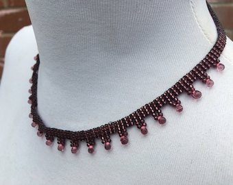 Handcrafted - Woven - Glass Seed Bead Necklace - Vintage Jewellery - Gift for Her - Birthday Present - Dark Rose Pink