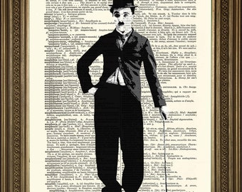 "CHARLIE CHAPLIN Art Prints: 2 Portraits - Vintage Black and White Movie Star Wall Hanging (8 x 10"")"