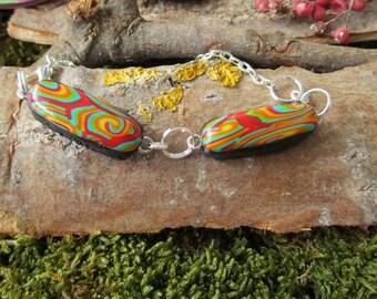 Unique art deco style beads unique lightning delicacies Rainbow polymer clay silver Bangle style bracelet piece