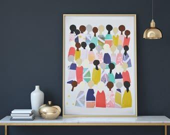 Printable Art, People, Wall Art, Modern Painting, Wall Decor, Home Decor