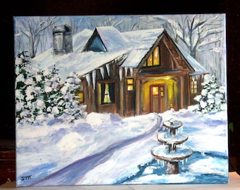 """Winter Wonderland Original Acrylic Painting on 16"""" x 20"""" stretched canvas, winter scene painting, snow art, Office art, Landscape painting"""