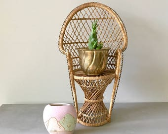 Vintage 16 inch Wicker Peacock Chair- Plant Stand- Doll Chair- Bohemian Decor- Boho Home