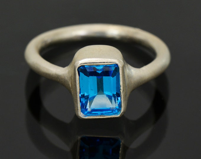 Lovely Swiss Blue Topaz Ring in Sterling Silver, Matte finish and Stackable