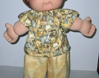 Cabbage Patch Kids, Doll Clothes, Jungle, Lion,  Pajama Set,   16  17 Inch Doll Clothes,  Boy or Girl Doll Clothes, Lion Slippers Included