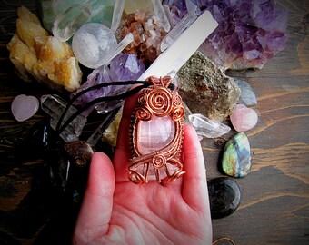 Selenite & Quartz Talisman // Copper Wire Wrap // Crystal Jewelry // Healing Jewelry // Unique // Goddess // Wild Moon Child