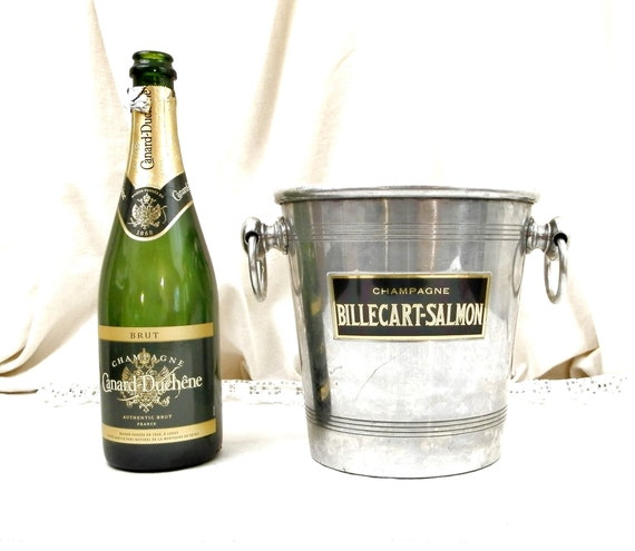 Vintage White Metal Billecart and Salmon Champagne Bucket with 2 Side Handles, French Sparkling Wine Ice Cube Chiller, Retro Drinks France