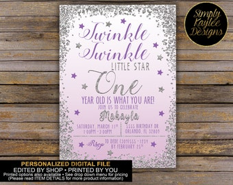 Twinkle Twinkle Little Star First Birthday Invitation