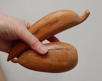 Set of 2 Vintage wooden fruit decorative mid century design