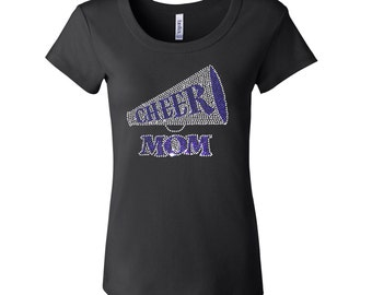 Rhinestone Cheer Mom [Megaphone in [BLUE Short Sleeve Scoop Neck Fitted Tee