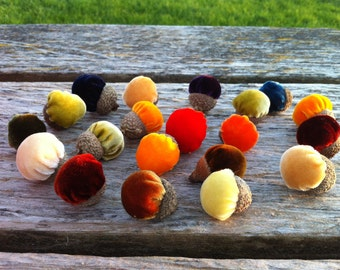 15 Silk Velvet Acorns with Real Acorn Caps - #2
