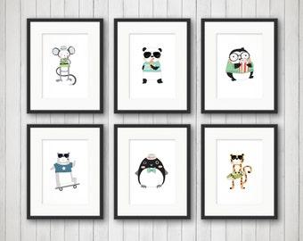 Animal Nursery Prints - Animal Nursery Art - Kids wall Decor - Animal Nursery Decor - Panda, Tiger, Dog, - Boys Room Decor - Boys Bedroom