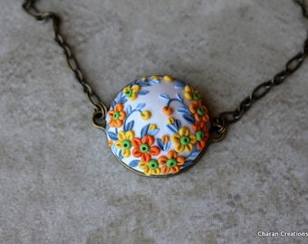 Polymer Clay Floral Pendant Necklace