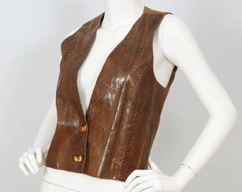 1970s Vintage Genuine Snakeskin Women's Brown Vest Sz XS-S by Gabriel Levy