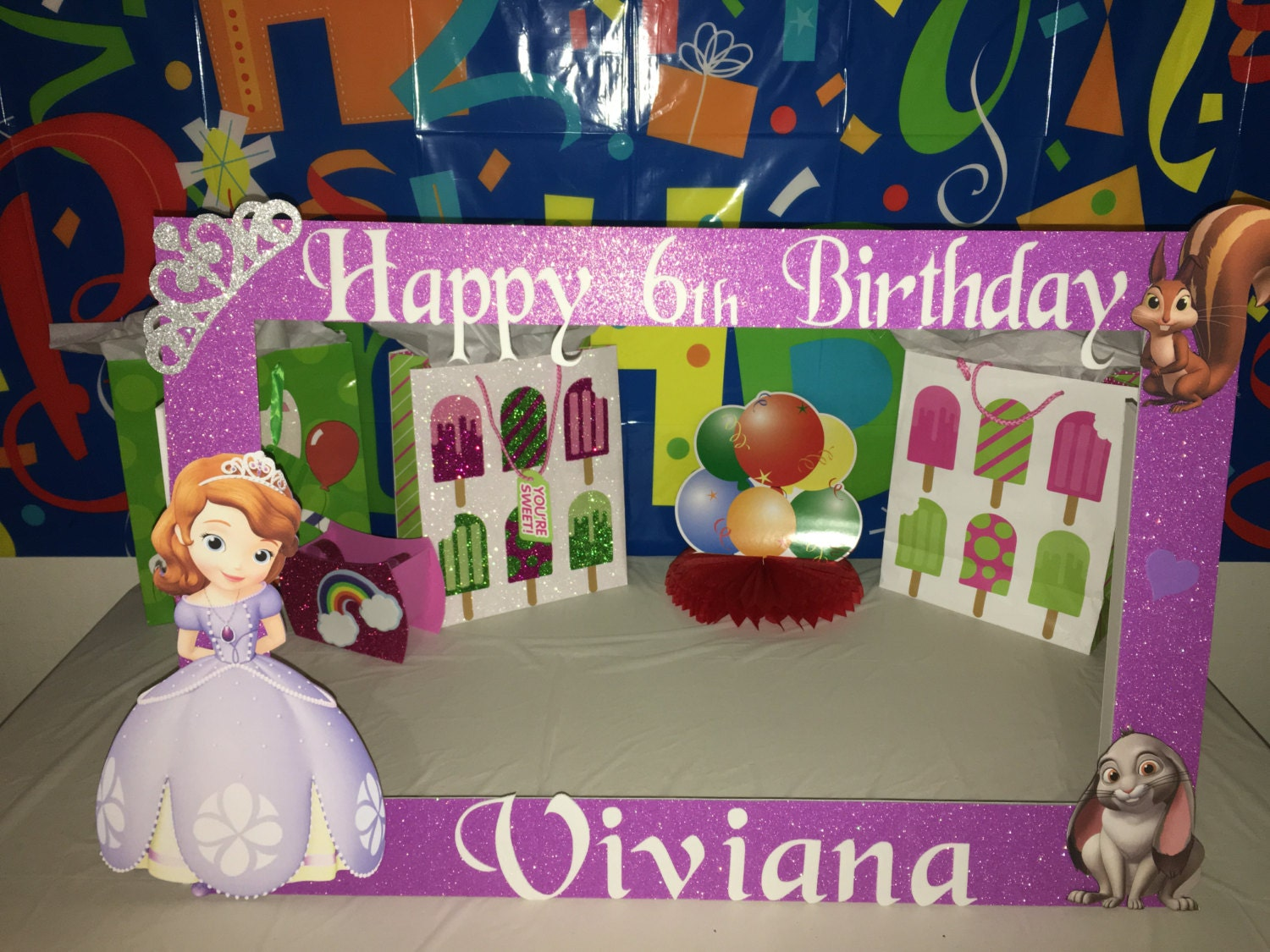 sofia the first party photo booth frame