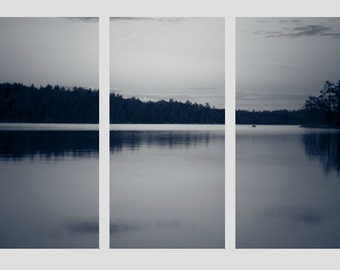 BWCA Triptych, Black and White, Boundary Waters, Lake Landscape, Nature Photography, Water Photo, Minnesota Canvas, Split Panel, Three Panel