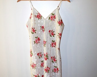 Vintage VAL MODE Lingerie size M cream polka dot silky dress slip floral flower