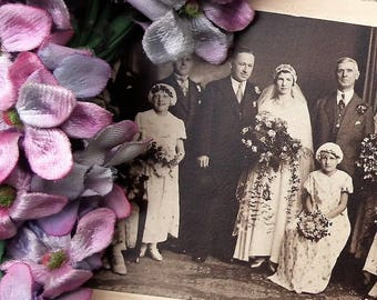 Vintage 1930s photograph wedding party studio photo bride groom bridesmaids guests - 20s style bridal gown dress - black and white photo