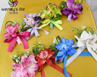 artificial flower wedding business boutonnere orchid more color choices corsages