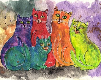 original pen and watercolours painting of cats