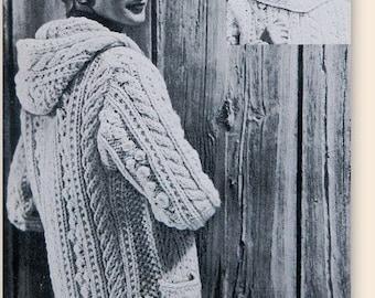 Vintage Knitting Pattern - Aran Fisherman Chunky Hooded Sweater//Cardigan - Sizes 14-16 PDF DOWNLOAD