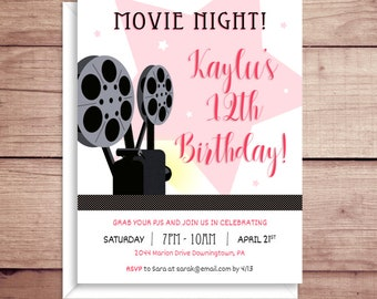 Movie Night Birthday Party Invitations - Birthday Invitations - Movie Party Invitations - Film Party Invitations - Sleepover Invitations