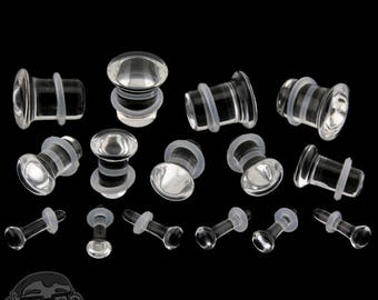 "Clear Glass Plugs - Single Flare (8G - 1/2"") Sold In Pairs - New!"