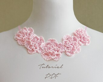 Flower Pattern Flower Necklace Tutorial PDF Pattern Seed Bead Necklace Beading Pattern Rose Pattern Beading Tutorial Rose Flower Tutorial