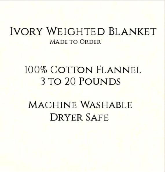 Solid Color, Weighted Blanket, Ivory, Up to Twin Size 3 to 20 Pounds.  Calming, Heavy Blanket, SPD, Autism, Weighted Blanket.