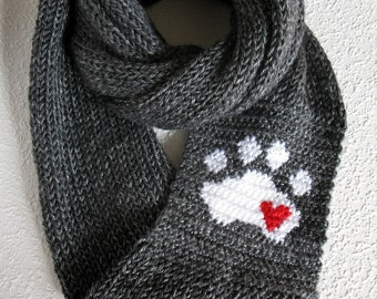 Paw Print Knit Infinity Scarf. Charcoal gray knitted circle scarf with a white paw print and small red heart. Long knit cowl scarves.