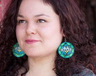 Tooled Earrings- Turquoise Mandala