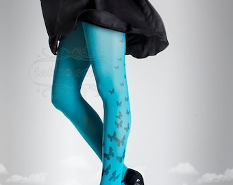 Tattoo Tights, cyan one size Butterfly print full length closed toe printed tights pantyhose, tattoo socks