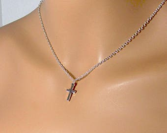 Mens Antiqued Silver Cross Necklace Unisex Jewelry