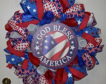 Patriotic wreath, God Bless America wreath, Veterans wreath, Memorial Day wreath, 4th of July wreath, Fourth of July wreath, Door wreath