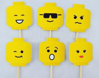 LEGO head face cupcake topper
