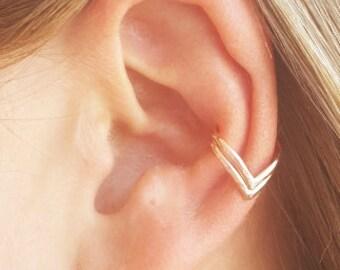 Rose Gold Ear Cuff, Double Chevron Ear Cuff, 14K Rose Gold Filled, Non Pierce Ear Cuff