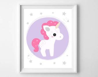 "Unicorn Art Print, Unicorn Wall Art, Nursery Art Print, Unicorn Party Sign, Girl Room Decor, Printable Digital Instant Download 8x10"""