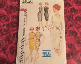 "60's Vintage ""Madmen "" Dress Style Sewing Pattern"