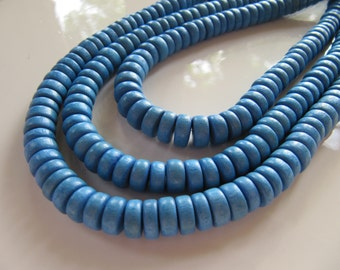 WOOD Beads, Light Denim Blue, Rondelle, 8mm x 4mm, 1 Strand, Approx 105 Beads, Dyed, Wooden, Flat, Round