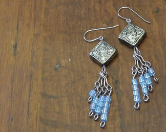 Rustic gold and blue cluster earrings