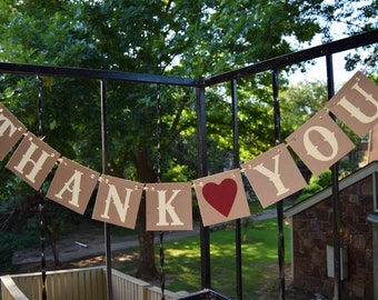 THANK YOU  Banner Wedding Banner - Engagement Party Decoration - Photo Prop Wedding Reception