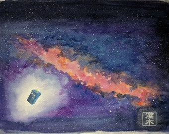 Doctor Who Tardis in Space - original watercolor painting