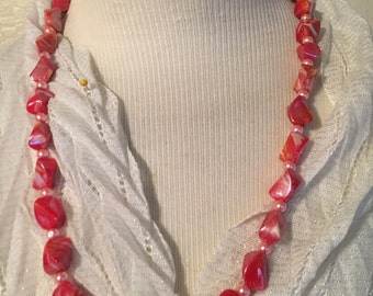 Red Rock Beaded Necklace!!